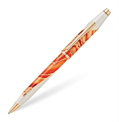 bolígrafo elegante color cálido ondas de diseño femenino