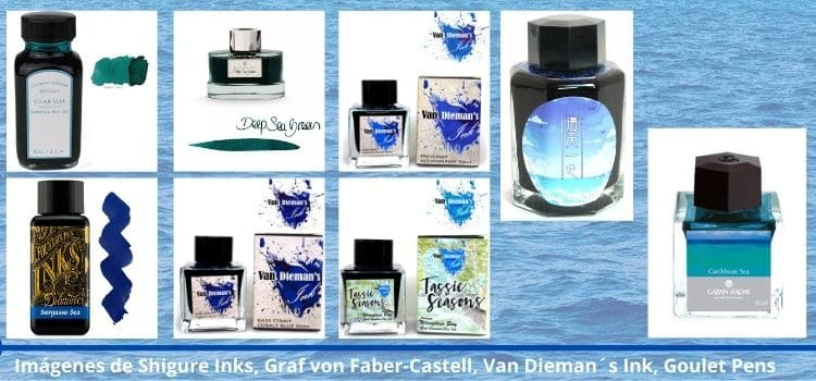 Tinteros de colores marinos azules profundos